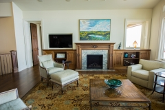 Living Room Mantel in Anigre and Patinated Brass