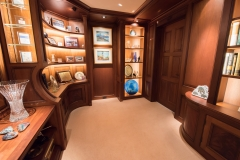 Library Display Wall with curved cabinetry