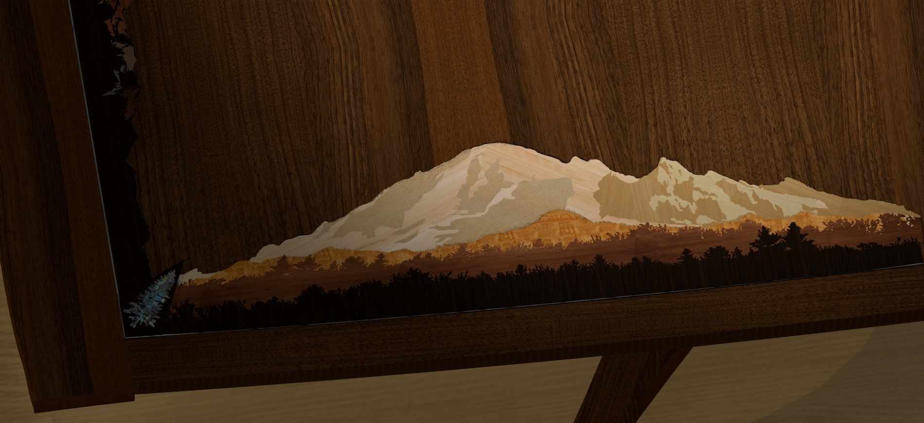 Mt Baker In Marquetry--rendering