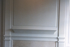 Parts for painted paneled fireplace mantel
