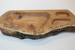 "My wife, Terrie, teaches cooking at Jubilee Farm.  This bowl holds the theme for the summer in addition to salads, minces and dips. Western Maple 12"" x 28"" x 2-1/8"""